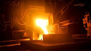 Metal casting at foundry