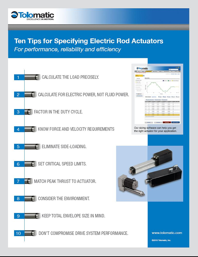 selecting electric rod actuators